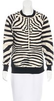 A.L.C. Zebra Pattern Rib Knit Sweater