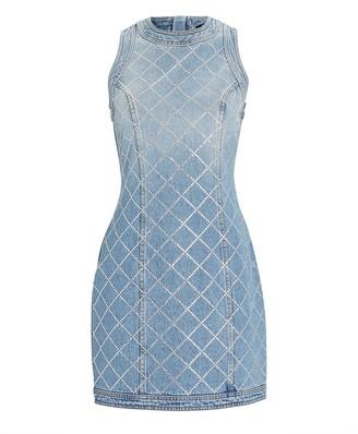 Balmain Crystal Quilted Denim Mini Dress