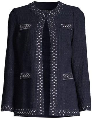 Misook Stud-Trim Textured Jacket