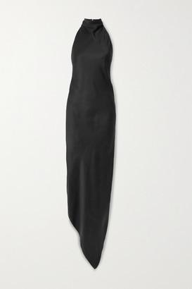 RtA Drew Asymmetric Silk-satin And Mesh Halterneck Dress