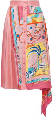 Emilio Pucci Asymmetric Printed Silk-twill Skirt