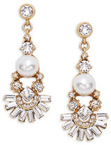 Gerard Yosca Faceted Crystal Faux Pearl Drop Earrings