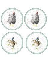 Pimpernel Wrendale Farmyard Feathers Coasters x4