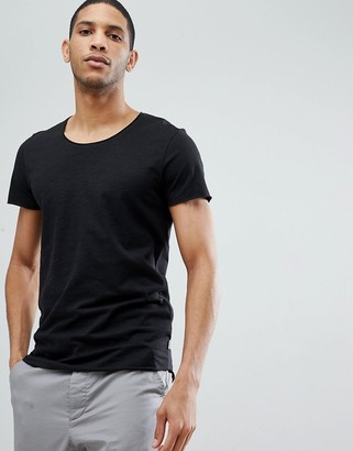Jack and Jones Essentials scoop neck longline t-shirt in black
