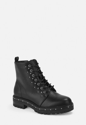 Missguided Black Faux Leather Stud Detail Biker Boots