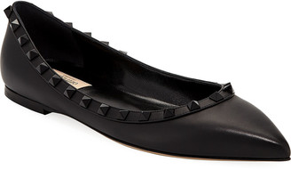 Valentino Garavani Rockstud Smooth Calf Leather Ballet Flats