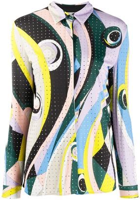 Emilio Pucci embellished Occhi-print shirt