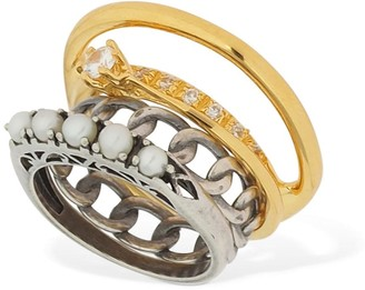 Iosselliani Set Of 4 Rings W/ Pearls & Crystals