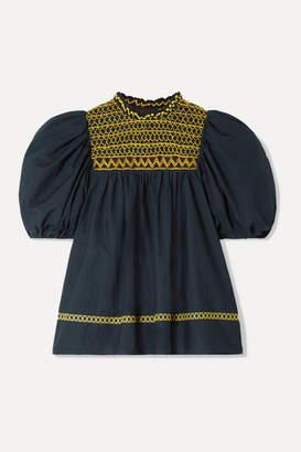 Ulla Johnson Arden Smocked Embroidered Cotton-poplin Blouse - Midnight blue