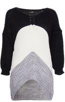 Quiz Black Cream And Grey Knit Jumper