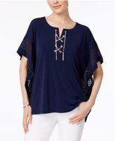JM Collection Chain Lace-Up Poncho, Only at Macy's