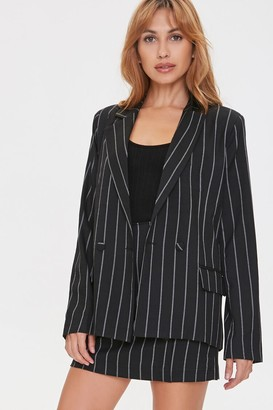 Forever 21 Pinstriped Button-Front Blazer