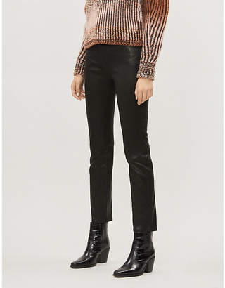 Frame Le Sylvie slim-fit high-rise cropped leather trousers