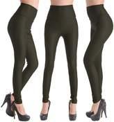 Celine lin Women's PU Leather High Waist Leggings Stretch Pants,Rose red XS