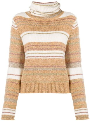 See by Chloe Turtle Neck Striped Knit Jumper