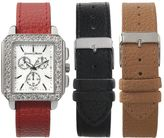 Journee Collection Women's Interchangeable Leather Watch Set