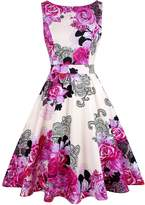 OWIN Women's 1950s Vintage Floral Swing Party Cocktail Dress with Butterfly Pattern (S, )