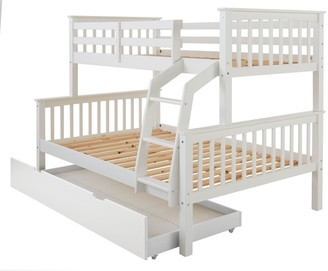 Novara Detachable Trio Bunk Bed with Mattress Options (Buy & SAVE!) Excludes Trundle