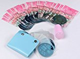 Finger Angel m82-m106 25PCS Nail Art Stamping Templates Different Designs Stamping Template With Light Blue 26 slots Nail Art Plate Case And Pink Soft Silicone Image Plate Stamper