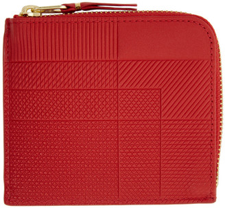 Comme des Garçons Wallets Red Intersection Half-Zip Wallet