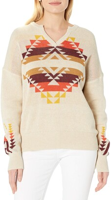 Pendleton Women's Graphic Print Notch Collar Cotton Sweater Pullover