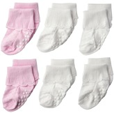 Jefferies Socks Non-Skid Scalloped Turncuff 6-Pack Girls Shoes
