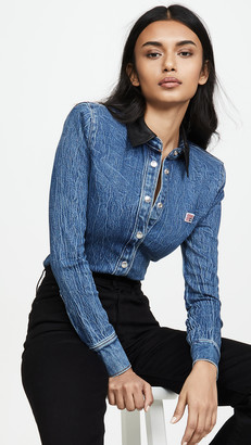 Alexander Wang Denim Button Long Sleeve Shirt with Leather Collar