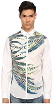 Just Cavalli Placed Feather Print Silk Panel Front Shirt Button Up