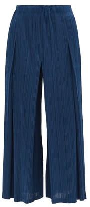 Pleats Please Issey Miyake Technical Pleated Wide-leg Trousers - Dark Blue