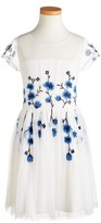 Ruby & Bloom Girl's Embroidered Illusion Dress