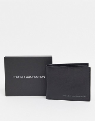 French Connection premium bifold leather wallet with gunmetal branding