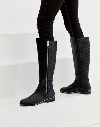 Lipsy quilted knee high riding boot in black