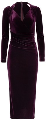 Talbot Runhof Long-Sleeve Velvet Cocktail Dress