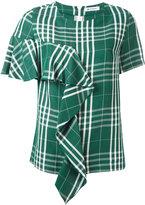 Dondup checked T-shirt - women - Linen/Flax/Viscose - 40