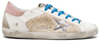 Golden Goose Superstar Shearling-trimmed Leather Trainers - Beige White