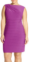 Adrianna Papell Shutter Pleat Sheath Dress (Plus Size)