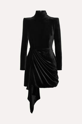 Alex Perry Parker Draped Velvet Mini Dress - Black