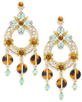 RJ Graziano Cabochon and Crystal Drop Hoop Earrings