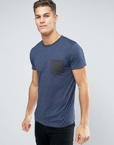 Esprit T-Shirt with Contrast Neck and Pocket Detail