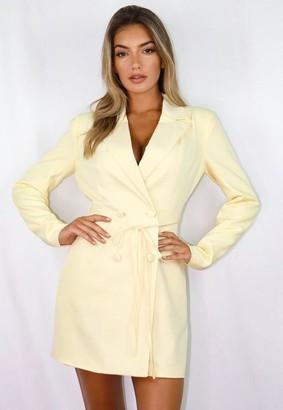 Missguided Lemon Tie Waist Blazer Mini Dress
