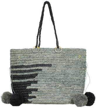 Maraina London Emmanuel Large Raffia Beach Tote Bag In Grey