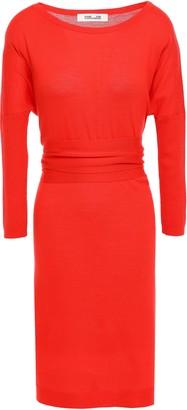 Diane von Furstenberg Tie-back Draped Merino Wool Dress
