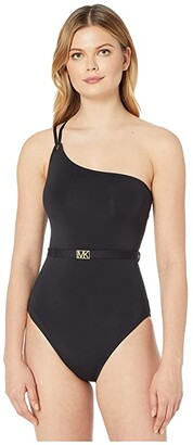 MICHAEL Michael Kors Logo Solids One Shoulder One-Piece (Black) Women's Swimsuits One Piece