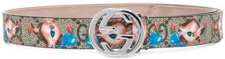 Gucci Kids Cartoon Print Logo Belt