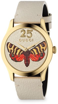 Gucci Yellow Gold PVD and Leather Strap Watch
