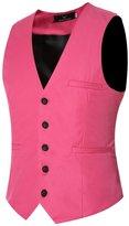 JJCat 2016 New Men's V-neck Cotton 9 Colors Plus Size Wedding Dress Vests (L, )