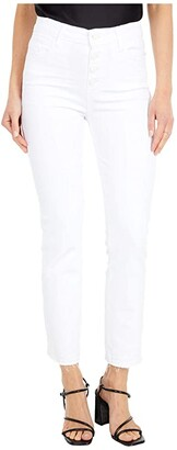 Paige Cindy Crop w/ Exposed Button Fly + Undone Hem in Cool White Distressed (Cool White Distressed) Women's Jeans