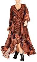 City Chic Plus Size Women's Patchwork Print Wrap Maxi Dress