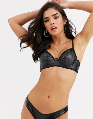 Asos DESIGN underwired plunge bikini top in black wet look