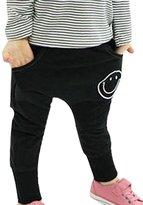 DD-CM Little Boys Girls Cotton Smile Print Hip Hop Harem Pants Trousers